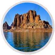 Round Beach Towel featuring the photograph Lake Powell Reflections by Dany Lison