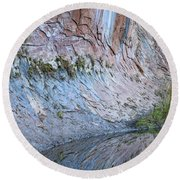 Round Beach Towel featuring the photograph Reflections In Oak Creek Canyon by Sandra Bronstein