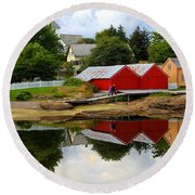Reflections In Rorvik Round Beach Towel