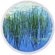 Reflections In The Bay Round Beach Towel