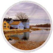 Reflections In The Harbor Round Beach Towel