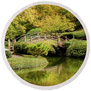 Round Beach Towel featuring the photograph Reflections In The Japanese Garden by Iris Greenwell