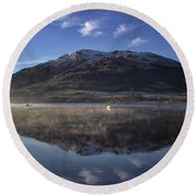 Reflections In The Loch Round Beach Towel by Lynn Bolt