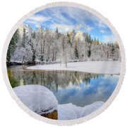 Reflections In The Merced River Yosemite National Park Round Beach Towel