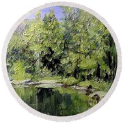 Round Beach Towel featuring the painting Reflections by Laurie Rohner