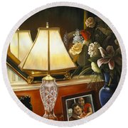 Round Beach Towel featuring the painting Reflections by Marlene Book