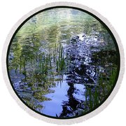 Round Beach Towel featuring the photograph Reflections  by Mary Wolf