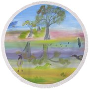 Songs Of A Reflective Pond Round Beach Towel