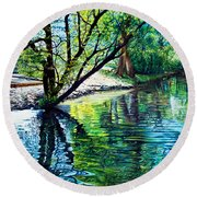Trees Reflections Round Beach Towel