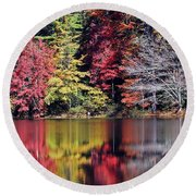 Reflections Of A Bare Tree Round Beach Towel