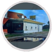 Round Beach Towel featuring the painting Reflections Of A Diner by William Brody