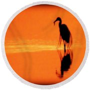 Reflections Of A Heron Round Beach Towel