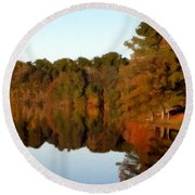 Round Beach Towel featuring the painting Reflections Of A Pennsylvania Autumn by David Dehner