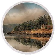 Round Beach Towel featuring the photograph Reflections Of An Island by Rod Best