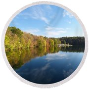 Reflections Of Autumn Round Beach Towel by Donald C Morgan