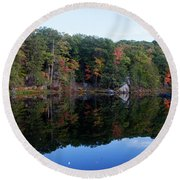 Round Beach Towel featuring the photograph Reflections Of Autumn by Jeff Severson