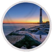 Reflections Of Barnegat Light Round Beach Towel