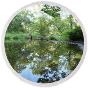 Reflections Of Beetree Run Round Beach Towel by Donald C Morgan