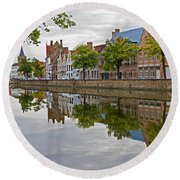 Reflections Of Brugge Round Beach Towel