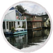Reflections Of Colored Houses   Round Beach Towel