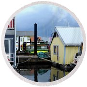 Reflections Of Colorful Houses 2 Round Beach Towel
