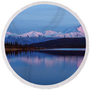 Round Beach Towel featuring the photograph Reflections Of Denali At Sunset by Brenda Jacobs