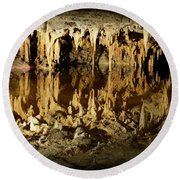 Round Beach Towel featuring the photograph Reflections Of Dream Lake At Luray Caverns by Paul Ward