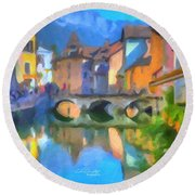 Reflections Of Eze Round Beach Towel