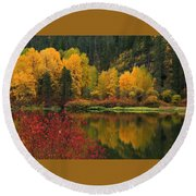 Reflections Of Fall Beauty Round Beach Towel