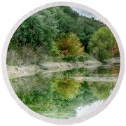 Reflections Of Fall Round Beach Towel