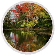 Reflections Of Fall Foliage Round Beach Towel