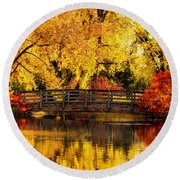 Reflections Of Fall Round Beach Towel by Kristal Kraft