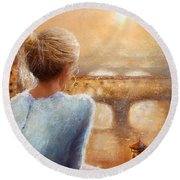 Round Beach Towel featuring the painting Reflections Of Florence by Michael Rock