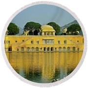 Reflections Of India Round Beach Towel by Michael Cinnamond