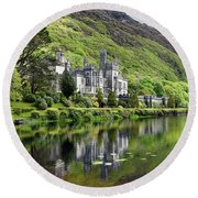Reflections Of Kylemore Abbey Round Beach Towel