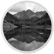 Reflections Of Maroon Bells Round Beach Towel