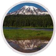 Reflections Of Mount Rainier Round Beach Towel