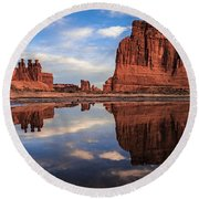 Reflections Of Organ Round Beach Towel