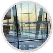 Round Beach Towel featuring the photograph Reflections Of Oslo by David Chandler