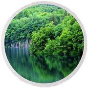 Reflections Of Plitvice, Plitvice Lakes National Park, Croatia Round Beach Towel