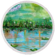 Round Beach Towel featuring the photograph Reflections Of Spring by Haleh Mahbod