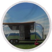 Reflections Of The Airstream Factory Round Beach Towel