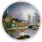 Round Beach Towel featuring the painting Reflections Of The Black Country by Ken Wood