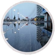 Reflections Of The Boardwalk Round Beach Towel