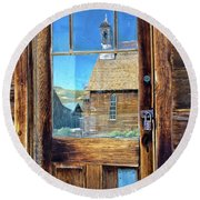 Reflections Of The Bodie Church Round Beach Towel