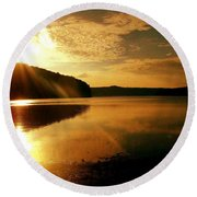 Reflections Of The Day Round Beach Towel by Scott D Van Osdol