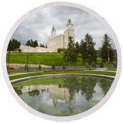 Reflections Of The Manti Temple At Pioneer Heritage Gardens Round Beach Towel