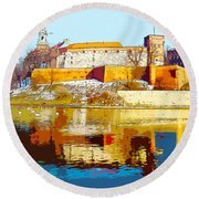 Reflections Of Wawel, Krakow Castle, Poland From The Vistula Riv Round Beach Towel