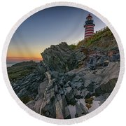 Round Beach Towel featuring the photograph Reflections Of West Quoddy Head by Rick Berk