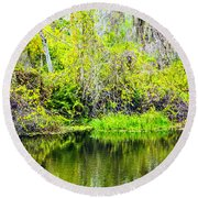 Round Beach Towel featuring the photograph Reflections On A Beautiful Day by Madeline Ellis